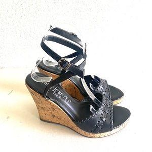 Cathy Jean black ankle strap wedge sandal size 6
